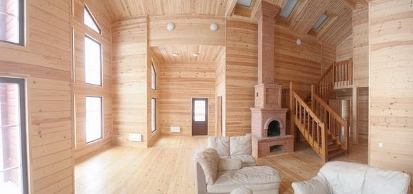 Интерьер дома из бруса внутри